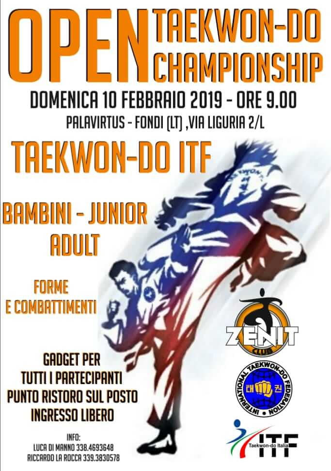OPEN TAEKWON-DO CHAMPIONSHIP - 9 FEBBRAIO 2019 FONDI (LT)